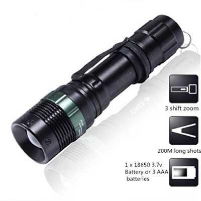 1Pc Crucial Popular 3000 Lumen LED Flashlight 3-Mode Brightness Light Adjustable Focus Aluminum Alloy Colors Black