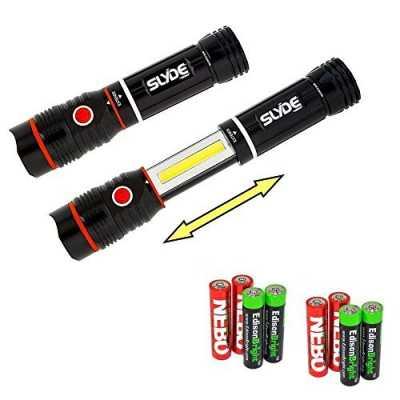 Nebo 6156 Slyde 250 Lumen LED flashlight/Worklight with 4 X EdisonBright AAA alkaline batteries