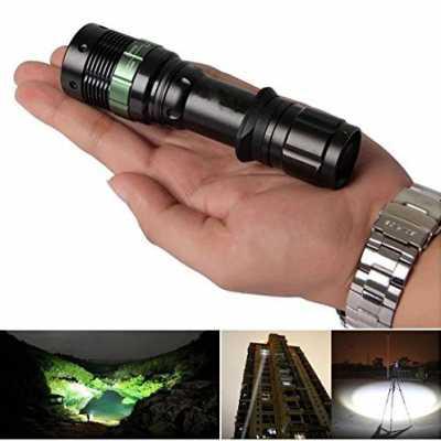 1 Set Optimal Modern 3 Modes LED Flashlight 3000 Lumen Zoomable Adjustable Focus Skid Proof Design Body Color Black