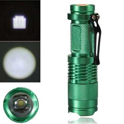 1Pc Massive Modern Mini 3 Mode 7W 300LM LED Flashlight Zoom Light Zoomable Convenient Carry Body Color Green