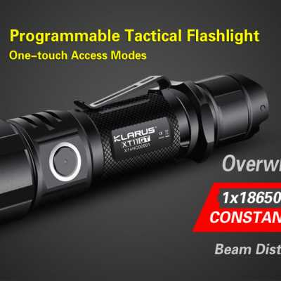 Klarus XT11GT Programmable Tactical flashlight with 2000 Lumens Front page