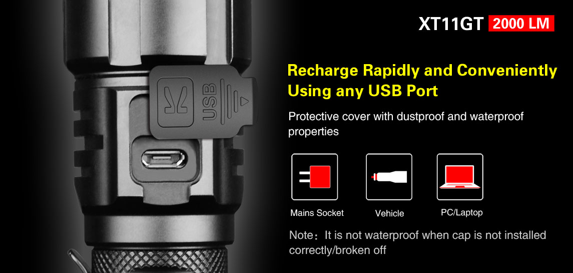 Klarus XT11GT Programmable Tactical flashlight with 2000 ...